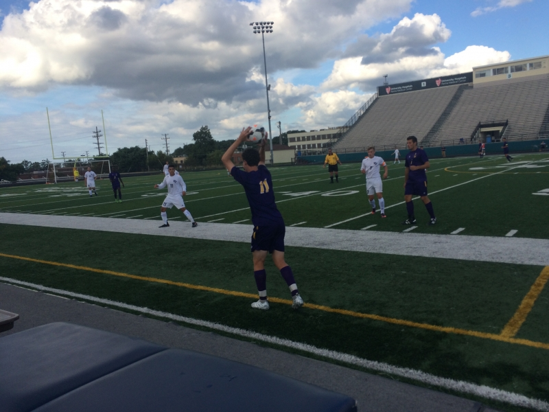 Senior Ben Harvey on a throw-in during the first half of the Rangers 9-1 win.